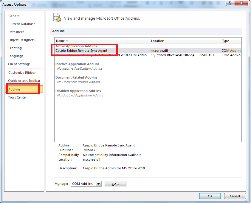 Troubleshooting the installation of Caspio plugin for